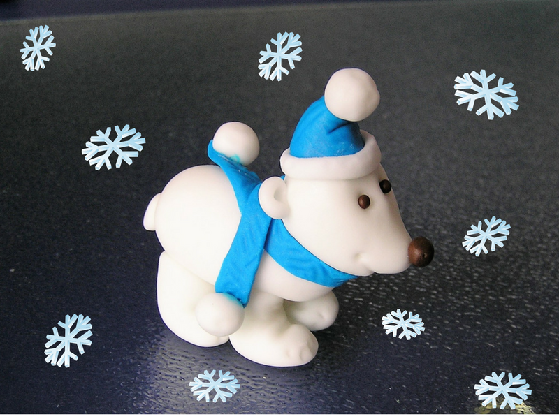 Fondant Eisbär Figur aus Massa Ticino