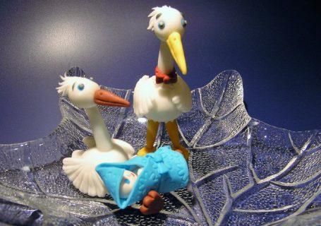 Fondant Storch mit Baby