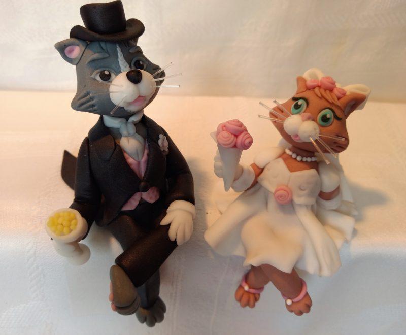 Brautpaar Katzen Fondant Tortendeko