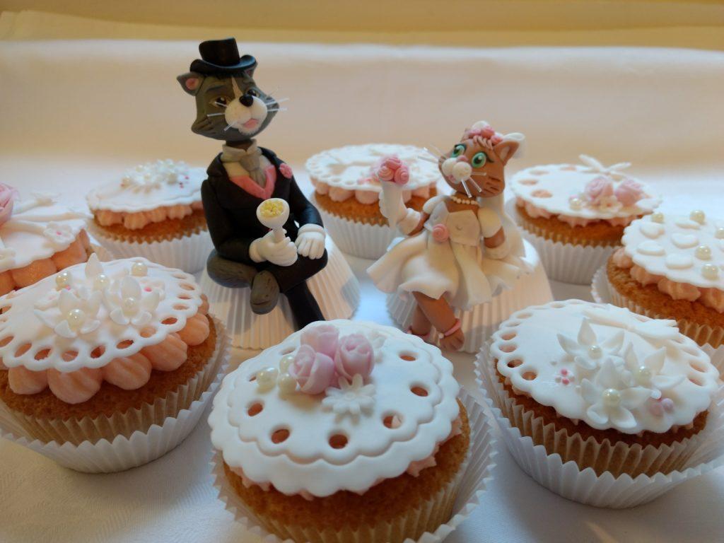 Torten- oder Cupcak-Dekoration Katzen Brautpaar Hochzeitstorte Fondant
