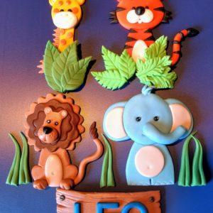 Tortendekoration Dschungel, Safari. Zuckerfiguren