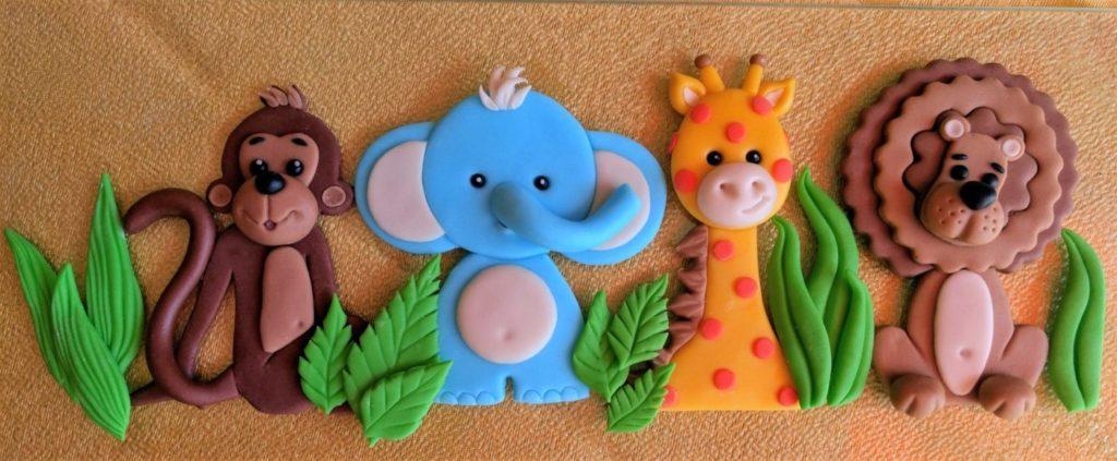 4 Fondant Figuren, Dschungel Tiere Affe, Elefant, Giraffe und Löwe