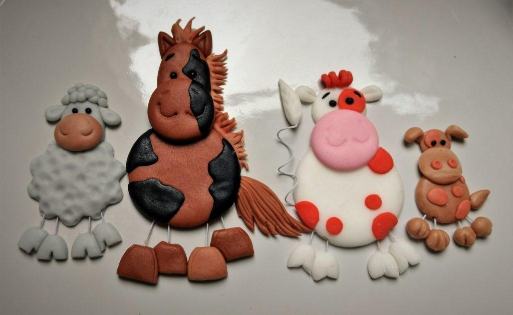 Dekofiguren Fondant Bauernhoftorte, Farm Zuckerfiguren Tiere