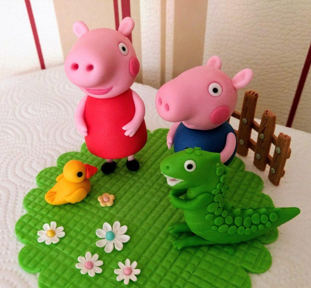 Peppa Wutz, George, Dino-, Ente und grüne Wiese aus Fondant, Figure für die Tortendekoration,