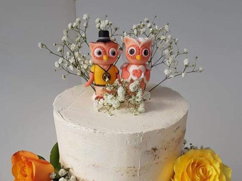 Tortenfiguren Eulen Brautpaar Hochzeitstorte Fondant