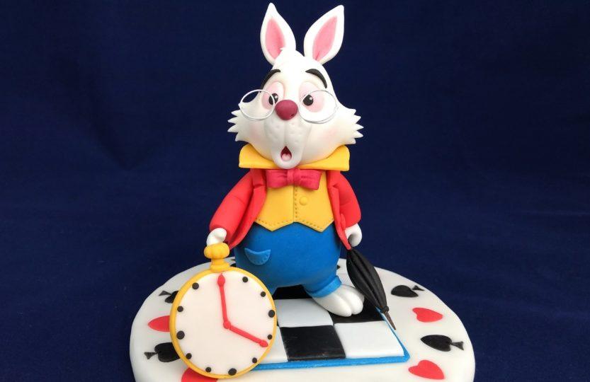das weiße Kaninchen Figur Fondant, Tortendeko, Alice im WUNDERLAND