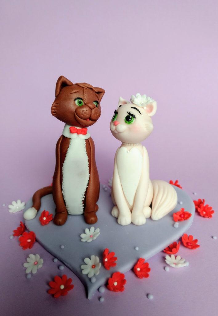 Brautpaar Figur für Hochzeitstorte Katzen Fondant