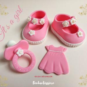 Tortenfiguren Babyschuhe Mädchen